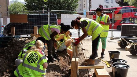 Young people from Berger Primary School and Cardinal Pole Secondary School constructed the site over