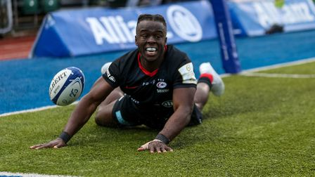 Saracens' Rotimi Segun scores their second try during the Heineken Champions Cup pool four match at