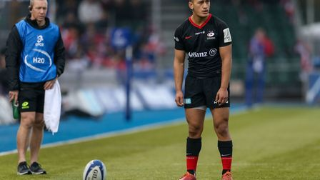 Saracens' Manu Vunipola kicks a conversion during the Heineken Champions Cup pool four match at Alli