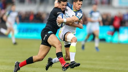 Saracens' Alex Lozowski and Ospreys' Shaun Venter during the Heineken Champions Cup pool four match