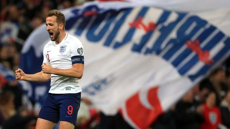 England's Harry Kane celebrates scoring his side's third goal of the game (pic Mike Egerton/PA)