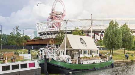 Barge East is located on the River Lee, next to West Ham United's London Stadium. Picture: Connie Ca