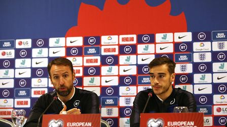 England manager Gareth Southgate and Harry Winks during a press conference at The Emerald Hotel, Pri