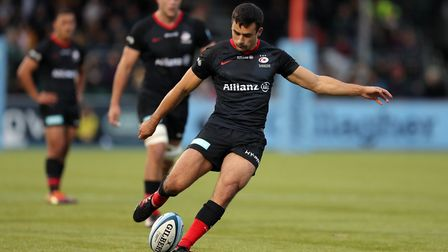 Saracens' Alex Lozowski kicks a penalty during the Gallagher Premiership match at the Allianz Stadiu