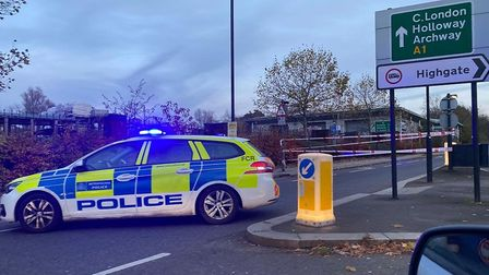 Police at the scene in Archway Road after a 30-year-old motorcyclist was killed in a crash.