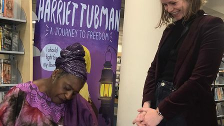 Sandra signing books at her launch at Shoreditch library. Picture: Miriam Nash