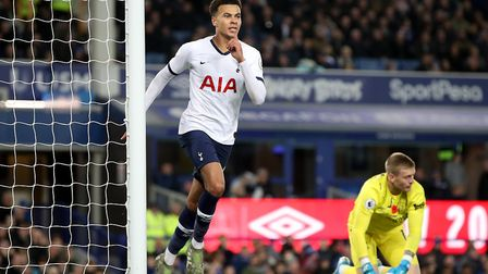 Tottenham Hotspur's Dele Alli celebrates scoring his side's first goal of the game during the Premie