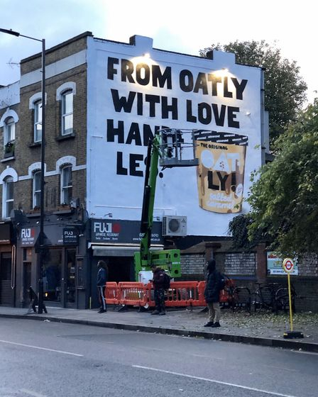 The Oatly advert in Stoke Newington Church Street: Picture: @StokeyUpdates