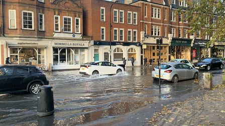 Flooding in South End Road after a water main burst in Downshire Hill. Picture: Hamish Hunter