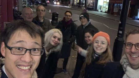 Conservative Party candidate Johnny Luk (first left) with activists after he was robbed of his phone