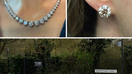 The diamond necklace and earrings were among the jewellery taken in a £1m raid on a Highgate home. P