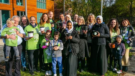 A Mitzvah Day planting project at the new Tarling Road home of the Somali Bravanese Welfare Associat