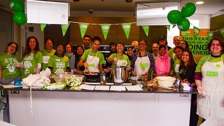 Six faiths cooking together at JW3 for Mitzvah Day and the Pond Square Chapel Night Shelter. Picture