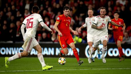 Wales' Ben Davies (second left) in action during the UEFA Euro 2020 Qualifying match at the Cardiff