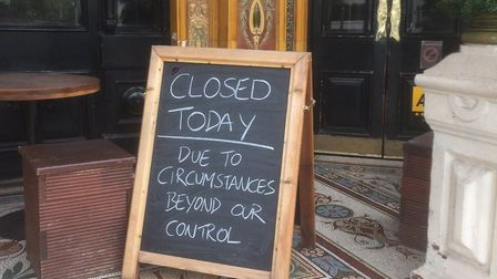 A sign outside the Warrington Hotel in Maida Vale after it had to shut due to hygiene issues. Pictur