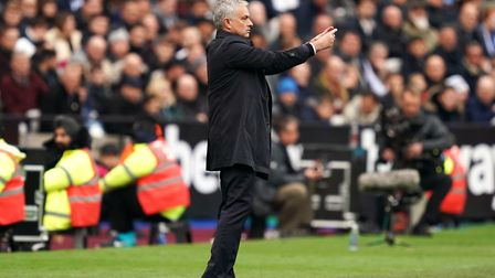 Tottenham Hotspur manager Jose Mourinho gestures on the touchline during the Premier League match at