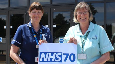 Marian Hunt and Angela Meadows who are celebrating a combined total of 70 years service with the NHS
