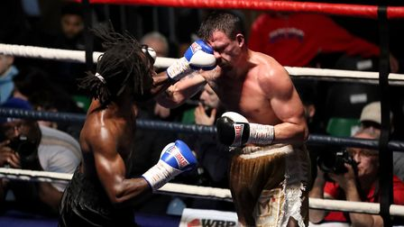 Jeff Ofori (left) and Jordan Ellison (right) fight at York Hall. Picture: PA