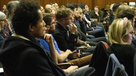 The audience listen to the candidates at the Extinction Rebellion hustings at The Mildmay Club. Pict