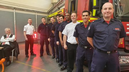 Homerton Fire Station firefighters and magician Phil Perry. Picture: Holly Chant