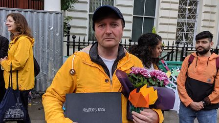 Richard Ratcliffe outside of the Iranian Embassy at the end of day four of his and Nazanin's hunger