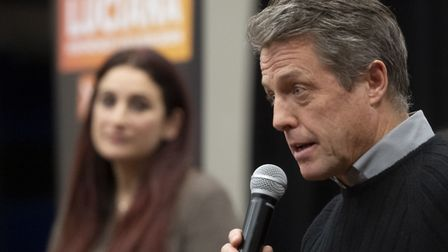 Liberal Democrat's candidate for Finchley and Golders Green, Luciana Berger listens to Hugh Grant s