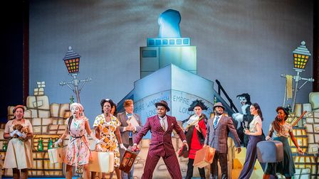 Callender (centre) arrives in Hackney after two years performing in the West End's Hamilton. Picture