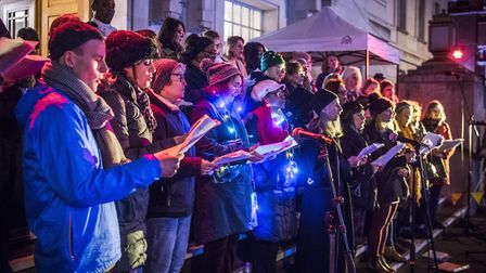 The Hackney Christmas lights switch on event in front of the town hall. Picture: Sean Pollock