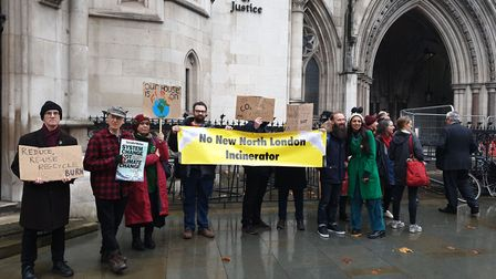 Campaigners who want to block the north London incinerator gathered outside the Royal Courts of Just