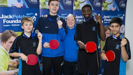 Hackney's Petchey Academy celebrate winning the under-19 boys event (pic Stephen Pover)