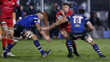 Saracens Owen Farrell is tackled by Bath's Josh Bayliss during the Gallagher Premiership match at th