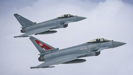 Image of two Typhoon FGR4 aircraft, flown by 29 (R) Squadron from RAF Coningsby. The Typhoon in the