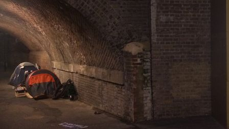 A rough sleeper tent in Churchwell Path, Morning Lane, beside the glitzy Hackney Walk. Picture: Cllr
