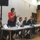 Meg Hillier speaks at Extinction Rebellion's Hackney South and Shoreditch hustings. Picture: Freya P
