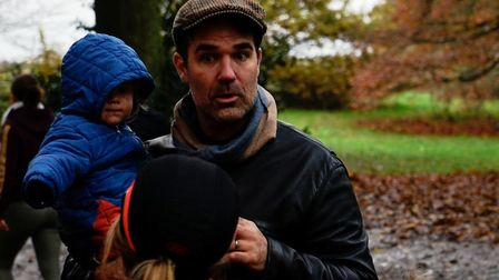 Rob Delaney with two of his children on Hampstead Heath on Sunday afternoon, shortly after being met