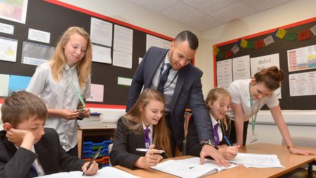 Year 11 students Holly Morrison and Lauryn Salter from Ormiston Denes Academy participate in a teac