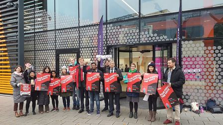 Staff at Loughborough University London striking. Picture: Supplied
