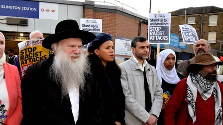 Rabbi Herschel Gluck OBE speaks at a Stand Up to Racism event earlier this year. Picture: Polly Hanc