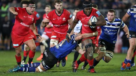 Saracens' Maro Itoji is tackled by Bath's Elliott Stooke during the Gallagher Premiership match at t