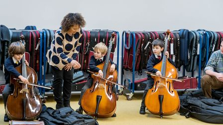 Double bassist Chinyere (Chi-chi) Nwanoku officially opened Hackney New Primary School. Picture: Eko