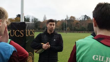 Ben Youngs coaching pupils at UCS Hampstead. Picture: UCS Hampstead