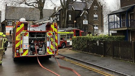 Fire engines at the scene of the nursery fire. Picture: Andy Commons