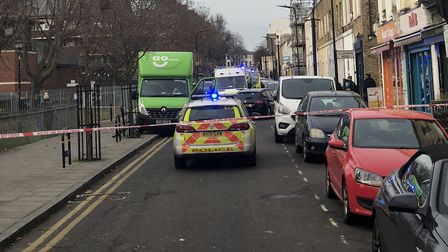 Police at the scene in Clarence Road. Picture: Nadeem Saeed