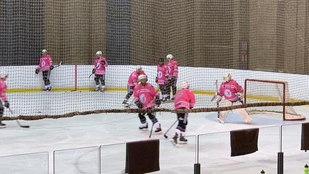 The Haringey Huskies have turned their kit pink for the Alexandra Wylie Tower Foundation. Picture: A