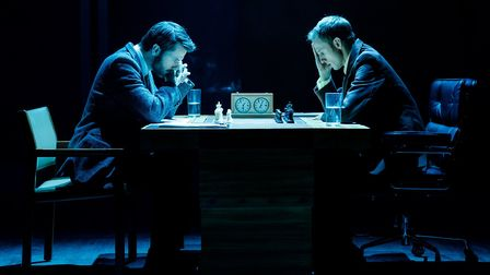 Ronan Raftery as Boris Spassky and Robert Emms as Bobby Fischer in Ravens Spassky Vs Fischer at Hamp