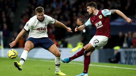 Burnley's Robbie Brady (right) and Tottenham Hotspur's Eric Dier (left) in action during the Premier