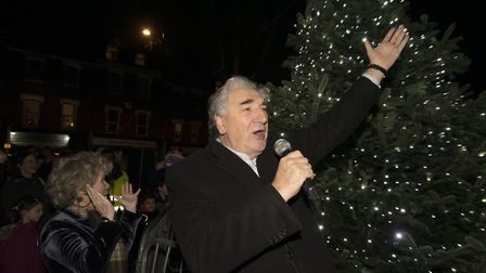 Christmas carols and lights switch on at Fortune Green on 07.12.19. Pictured special guests Imelda S