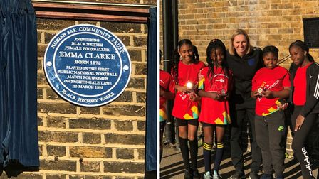 A plaque was unveiled for pioneering female footballer Emma Clarke. Pictures: Haringey Council