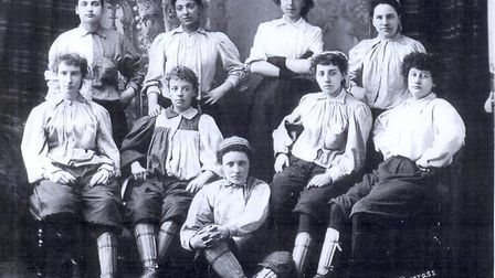 Emma Clarke with her British Ladies FC teammates in 1895. Picture: National Archive