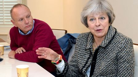 Theresa May and Mike Freer interviewed 21.11.19. Picture: Polly Hancock